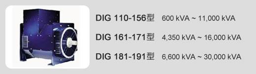 DIG 110-156型   600 kVA ~ 11,000 kVA / DIG 161-171型   4,350 kVA ~ 16,000 kVA / DIG 181-191型   6,600 kVA ~ 30,000 kVA
