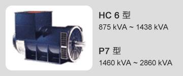 HC 6 型 875 kVA ~ 1438 kVA / P7 型 1460 kVA ~ 2860 kVA